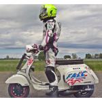 Pilota Vezzola Alessandro vespa drag equipaggiata materiale ufficiale Falc Racing  Aprilia  rotax